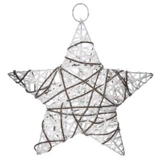 Etoile de Noël pailletée à suspendre - Diam. 25 cm - Blanc
