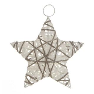 Etoile de Noël pailletée à suspendre - Diam. 15 cm - Blanc