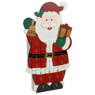 Calendrier de l'Avent Père Noël - 40 x 24 cm - Rouge