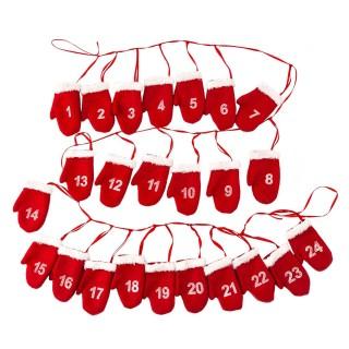 Calendrier de l'Avent Guirlande de Moufles - 180 cm - Rouge