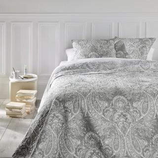 Dessus de lit et 2 taies Marie - 240 x 260 cm - Gris clair