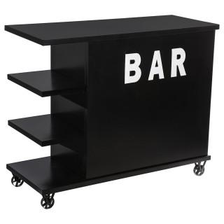 Bar à roulettes industriel Alrik - 120 x 48 x 99 cm - Noir