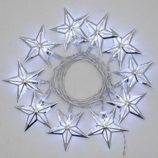 Guirlande 10 Etoiles lumineuses Noël - L. 135 cm - Blanc froid