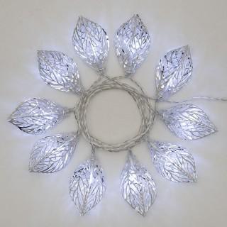 Guirlande 10 Feuilles lumineuses Noël - L. 135 cm - Blanc froid