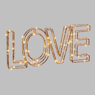 Ecriture 3D lumineuse en métal  - 35 x 15 cm - Love