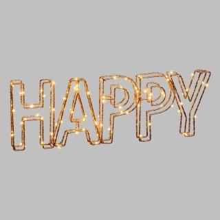 Ecriture 3D lumineuse en métal - 46 x 15 cm - Happy
