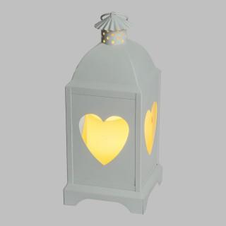 Lanterne avec bougie LED Coeur - 12 x 29 cm - Blanc