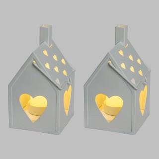 2 Lanternes avec bougies LED Petite Maison - 8,5 x 15 cm - Blanc