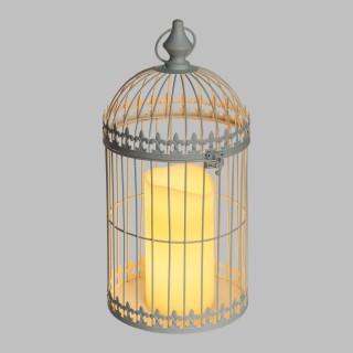 Lanterne avec bougie LED Cage à Oiseau- 21 x 43 cm - Gris