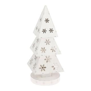 Sapin lumineux décoratif Vintage Noël - 13 x 34 cm - Blanc
