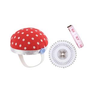 Kit Couture Porte-épingle et Mètre ruban - Pois rouge