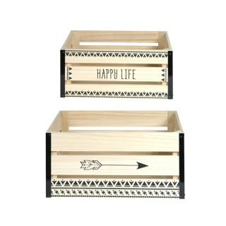 2 Cagettes de rangement Happy Life - 40 x 30 cm - Beige