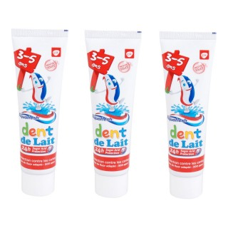 Lot de 3 Dentifrices pour les dents de lait de 3 à 5 ans - 50 ml.