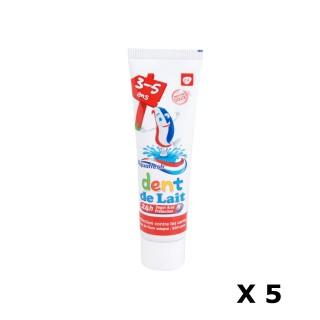 Lot de 5 Dentifrices pour les dents de lait de 3 à 5 ans - 50 ml.