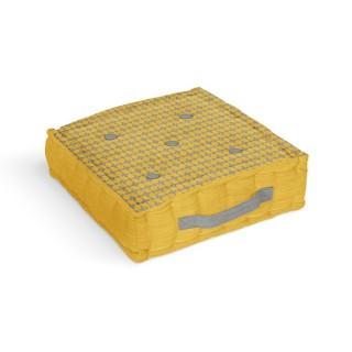 Coussin tapissier en coton Damier - 40 x 40 cm - Jaune