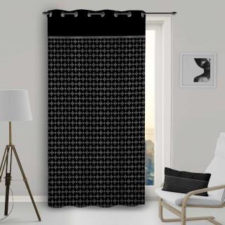 Rideau à œillets Damier - 135 x 250 cm - Noir