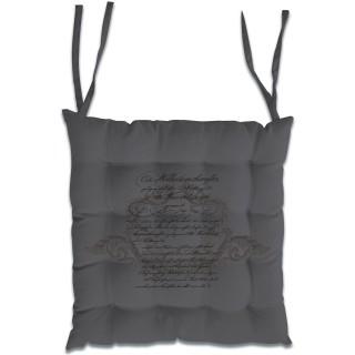 Dessus de chaise en coton Médaillon - 40 x 40 cm - Gris