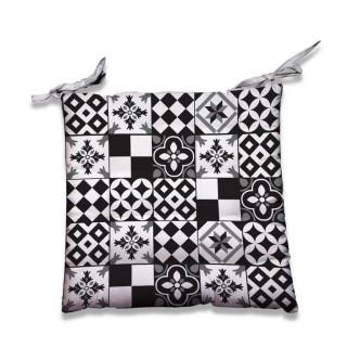 Dessus de chaise Mosaique - 40 x 40 cm - Noir et blanc