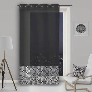 Voile à œillets Mosaique - 140 x 260 cm - Noir et blanc