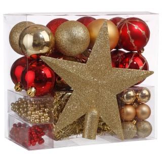 Kit déco pour sapin de Noël - 44 Pièces - Rouge et or