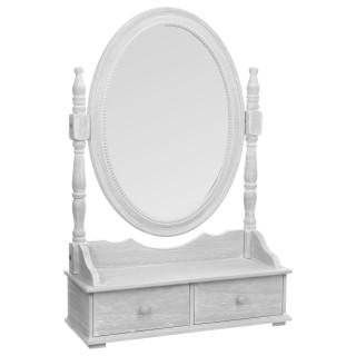 Coiffeuse range bijoux avec tiroirs et miroir - 50 x 75 cm - Gris