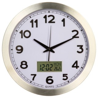 Pendule avec écran LCD - Diam. 35 cm - Argent