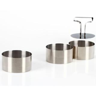 3 Ronds de présentation cuisine - Acier inoxydable - Diam. 8 cm