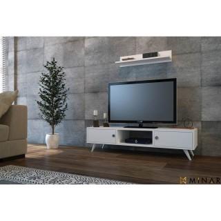 Meuble TV avec étagère Aspen - 100 x 35 cm - Blanc