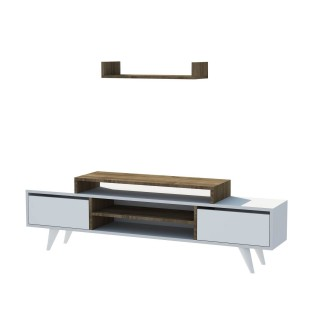Meuble TV avec étagère Melis - 160 x 48 cm - Blanc et noix