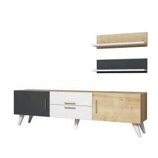 Meuble TV avec étagères Only - 160 x 45 cm - Gris, blanc et beige