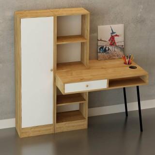 Bureau en bois avec tiroir et bibliothèques Starck - 140 x 140 cm - Beige et blanc