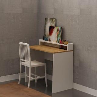 Bureau en bois School - 90 x 87 cm - Blanc et beige