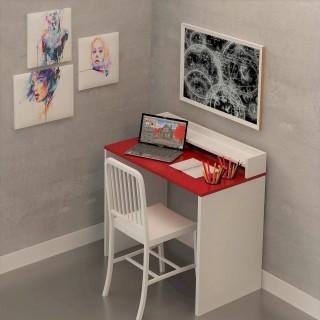 Bureau en bois Etao - 90 x 87 cm - Blanc et rouge