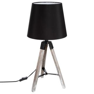Lampe en bois trépied Runo - H. 58 cm - Noir