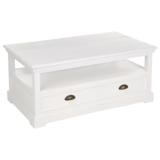 Table basse avec tiroir Conall - H. 45 cm - Blanc