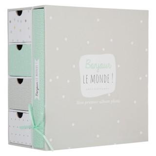 Coffret album photos et boîtes à souvenirs - 23 x 22 cm - Vert