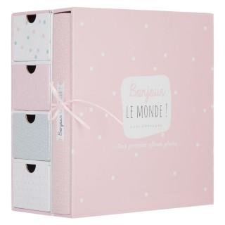 Coffret album photos et boîtes à souvenirs - 23 x 22 cm - Rose