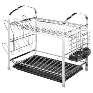 Egouttoir à vaisselle en métal avec range couvert - 52 x 26 cm - Noir
