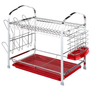 Egouttoir à vaisselle en métal avec range couvert - 52 x 26 cm - Rouge