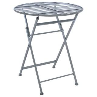Table pliante en métal Niena - Diam. 60 cm - Gris