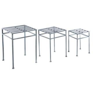 3 Table portes plantes en métal Niena - Gris