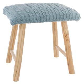 Tabouret carré déco tricot Marcel - H. 36,5 cm - Bleu