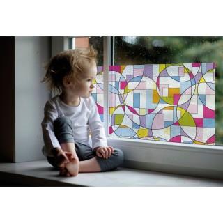 Film décoratif vitrostatique Fleurs - 150 x 46 cm - Multicolore