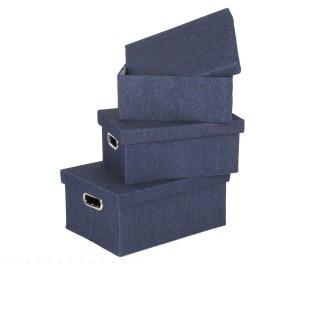 3 Boîtes de rangement rectangulaires - Couleur effet jean