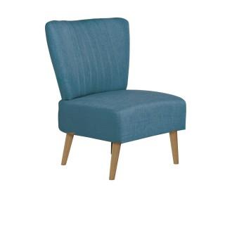 Chaise de salon vintage Louise - H. 82 cm - Bleu cyan