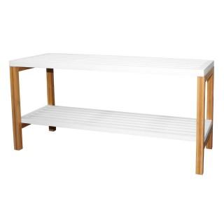 Etagère de salle de bain 2 Niveaux en bambou - 80 x H. 40 cm - Blanc