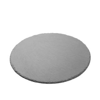 Assiette ronde en ardoise - Diam. 25 cm - Noir