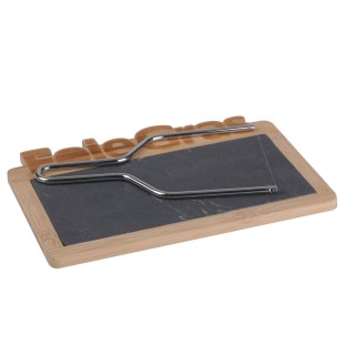 Plateau à foie gras avec lyre - 25 x 18,5 cm - Bambou et ardoise