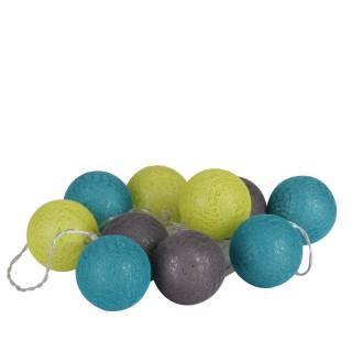 Guirlande lumineuse 10 boules - Diam. 6 cm - Bleu, vert et gris