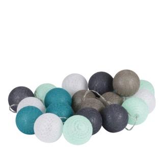 Guirlande lumineuse 20 boules d'O - Diam. 6 cm - Bleu
